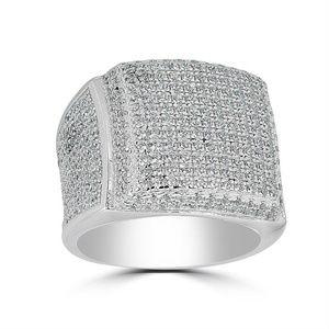 Harlembling Men 14k Gold 925 Silver Square Ring